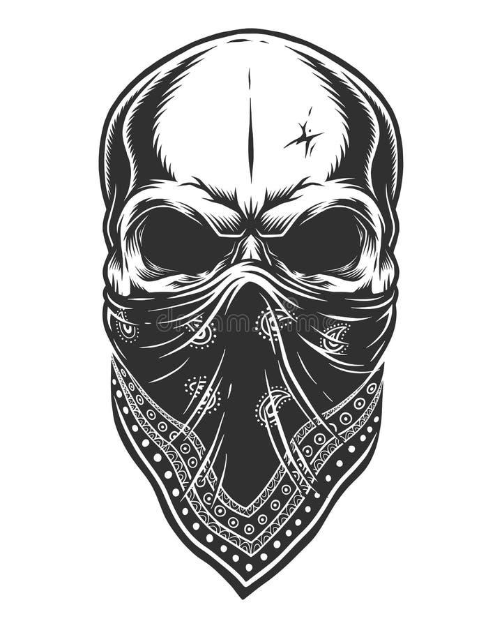 Ilustração do crânio no bandana na cara ilustração do vetor