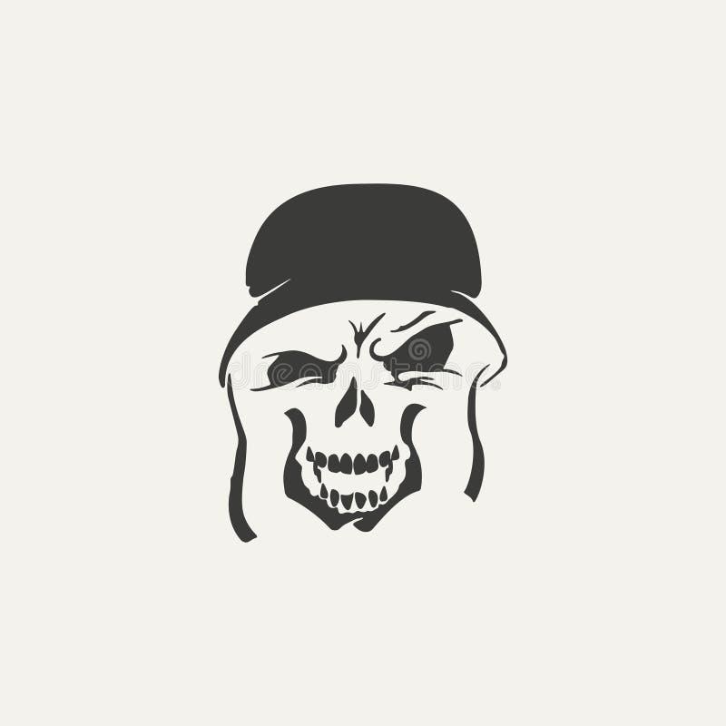 Ilustração do crânio no capacete ilustração stock