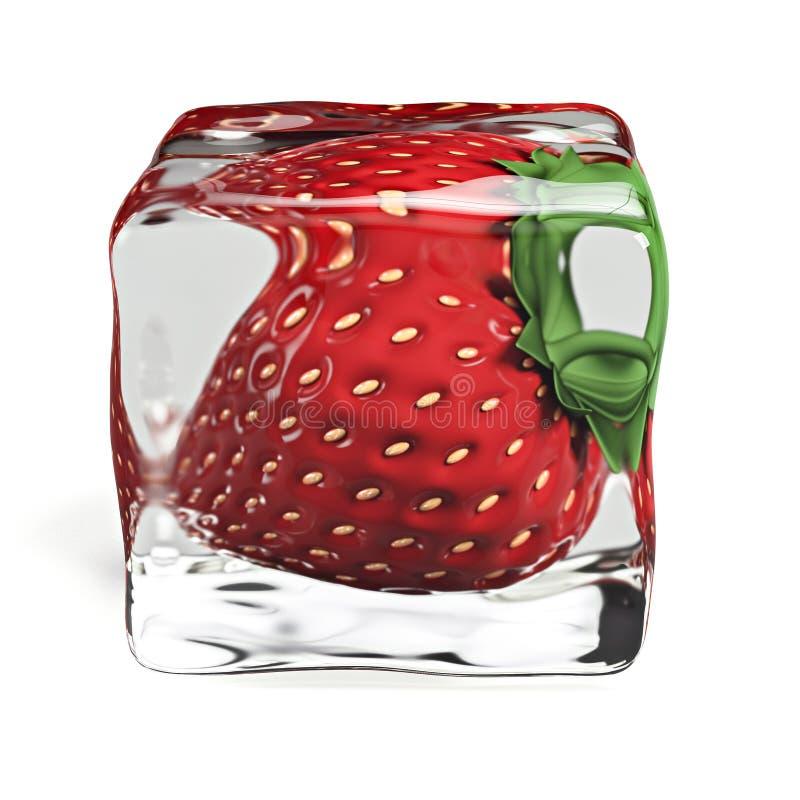Ilustração do cubo de gelo 3d da morango ilustração do vetor