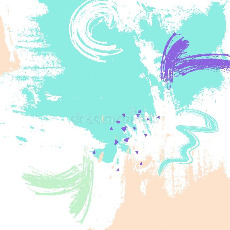 Ilustração do curso da escova da cor da hortelã Elementos abstratos do vetor Elementos criativos da tinta Arte dinâmica brilhante ilustração do vetor
