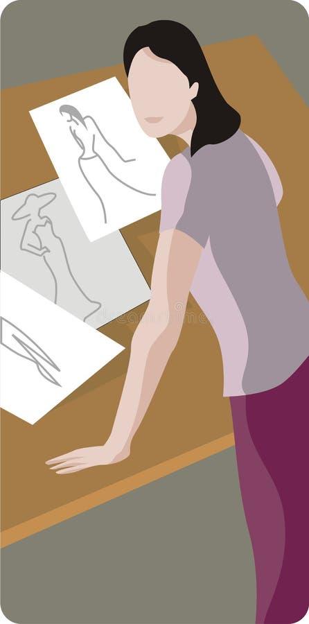 Ilustração do desenhador de moda ilustração royalty free