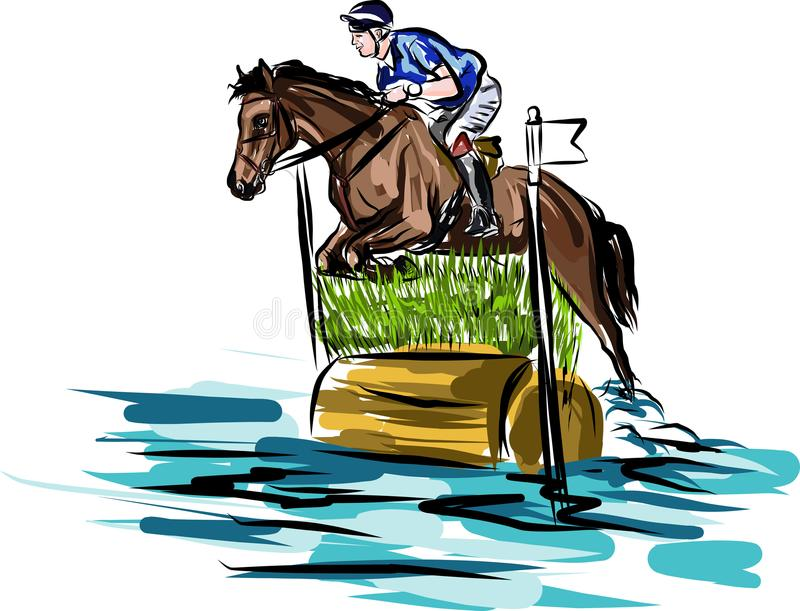 Ilustração do desenho do aHorseman no garanhão ilustração stock