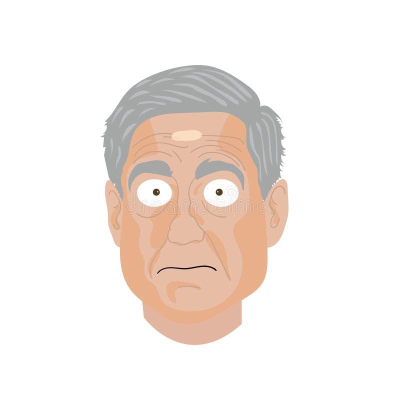 Ilustração do desenho da caricatura Retrato do caráter de Robert Mueller ilustração stock