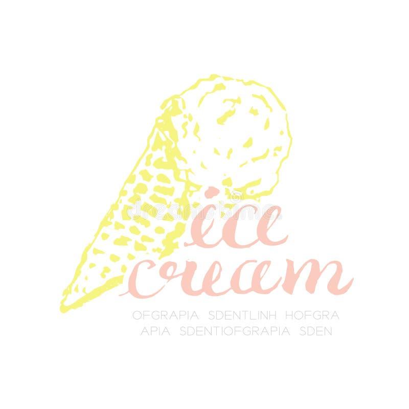 Ilustração do desenho da mão do ícone do logotipo do cone da colher do gelado ilustração do vetor