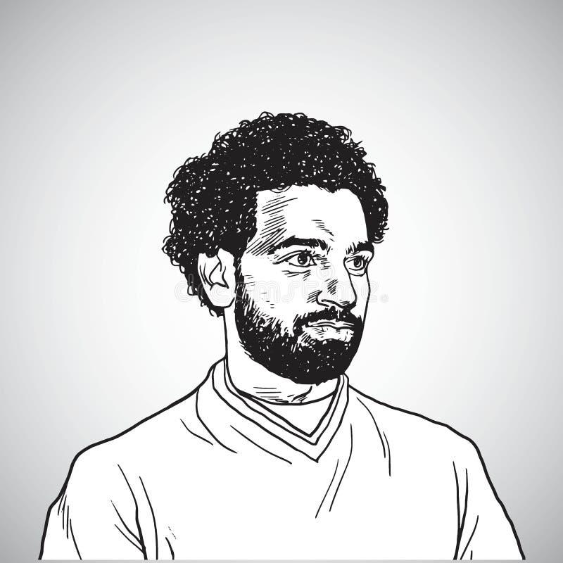 Ilustração do desenho de Mo Salah Vetora Portrait Cartoon Caricature 31 de maio de 2018 ilustração royalty free