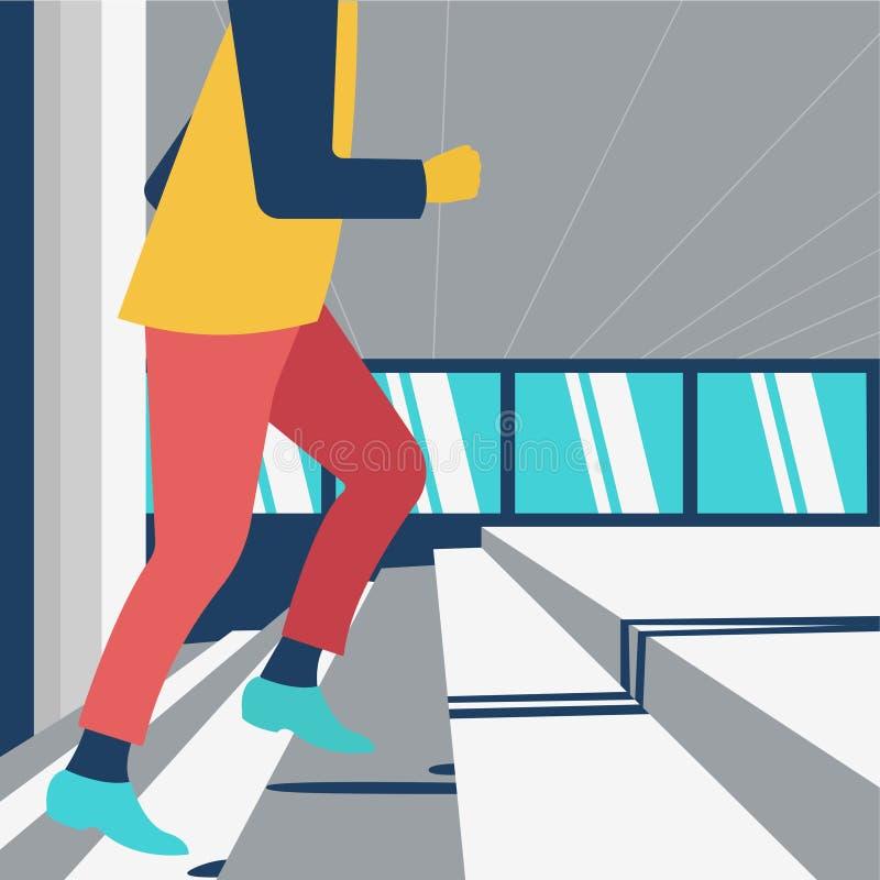 Ilustração do desenvolvimento de carreira do homem de negócios, escadas de escalada masculinas ilustração royalty free
