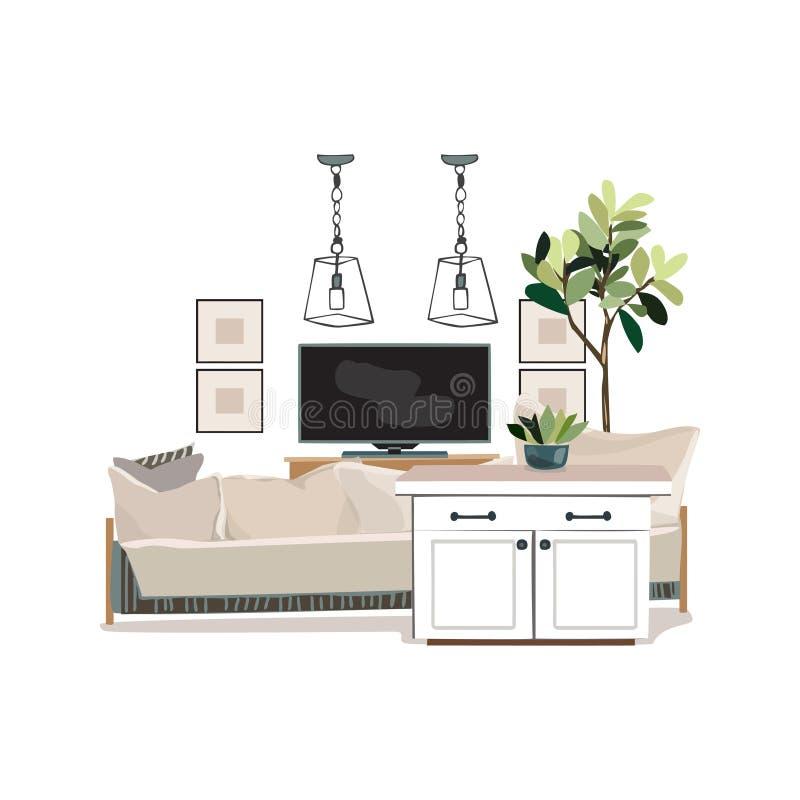Ilustração do design de interiores St na moda da sala de visitas branca moderna ilustração royalty free