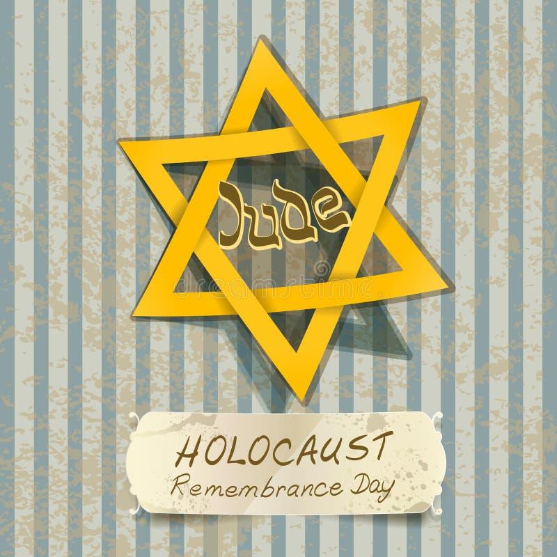 Ilustração do dia da relembrança do holocausto com estrela de David ilustração do vetor