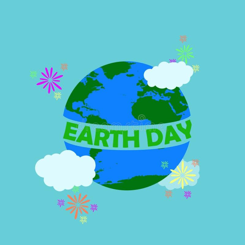 A ilustração do Dia da Terra com Dia da Terra verde da tipografia no meio da terra ao redor da terra tem a nuvem e os fogos de ar ilustração royalty free