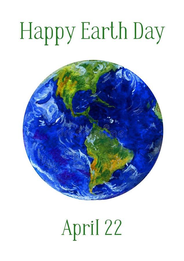 Ilustração do Dia da Terra Opiniões do planeta da terra de Americas Aquarela tirada mão ilustração royalty free