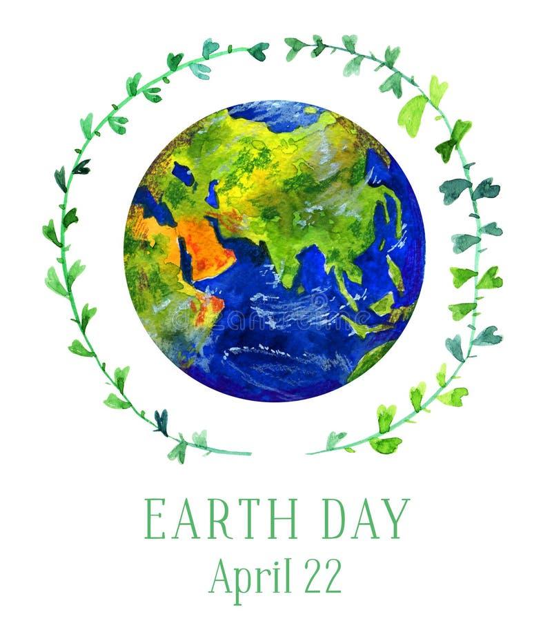 Ilustração do Dia da Terra Planeta da terra no círculo verde do galho Ilustração tirada mão da aguarela ilustração stock