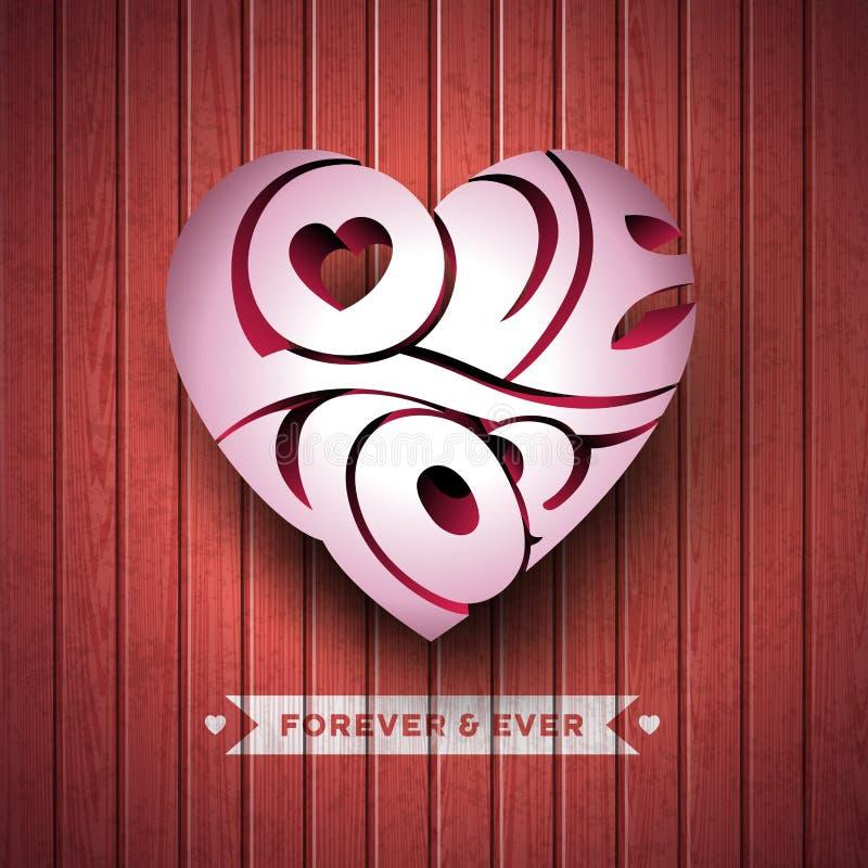 Ilustração do dia de Valentim do vetor com amor 3d você projeto da tipografia no fundo de madeira da textura ilustração royalty free