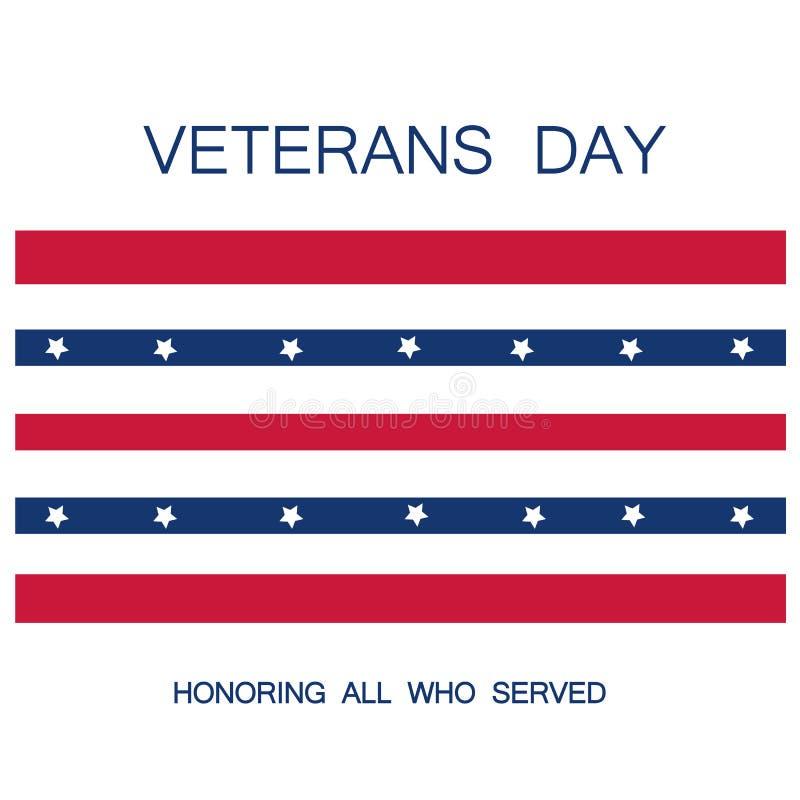 Ilustração do dia de veteranos e do vetor da bandeira americana ilustração stock