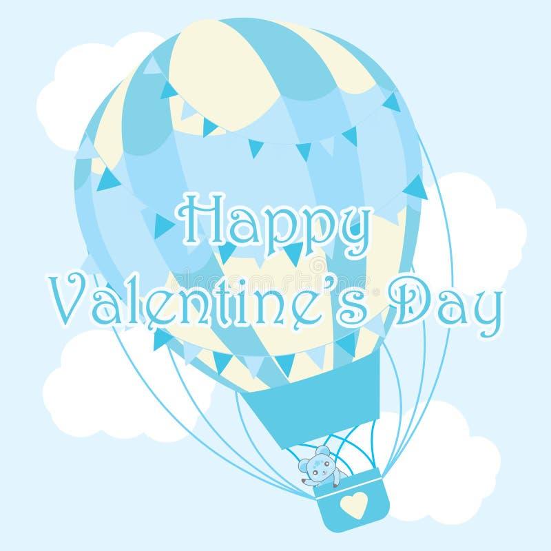 Ilustração do dia do ` s do Valentim com o urso bonito no balão de ar quente azul no fundo do céu ilustração royalty free