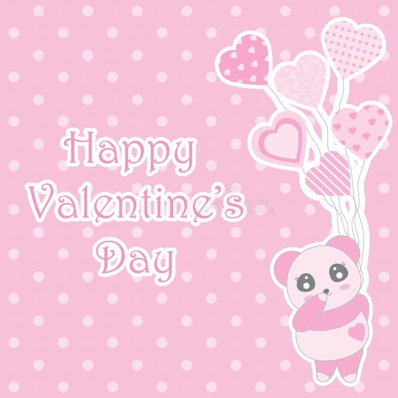A ilustração do dia do ` s do Valentim com a panda bonito do rosa de bebê traz balões no fundo do às bolinhas ilustração royalty free