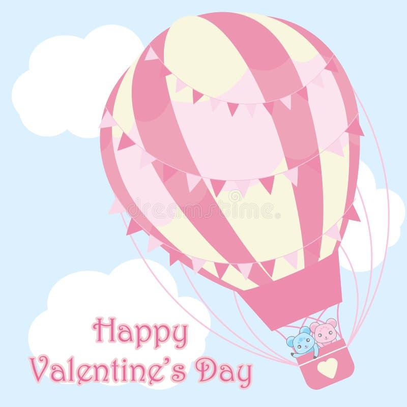 A ilustração do dia do ` s do Valentim com pares bonitos carrega no balão de ar quente cor-de-rosa no fundo do céu ilustração do vetor