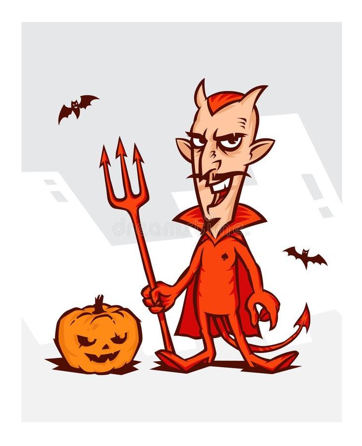 Ilustração do diabo para o feriado de Dia das Bruxas devi ilustração do vetor