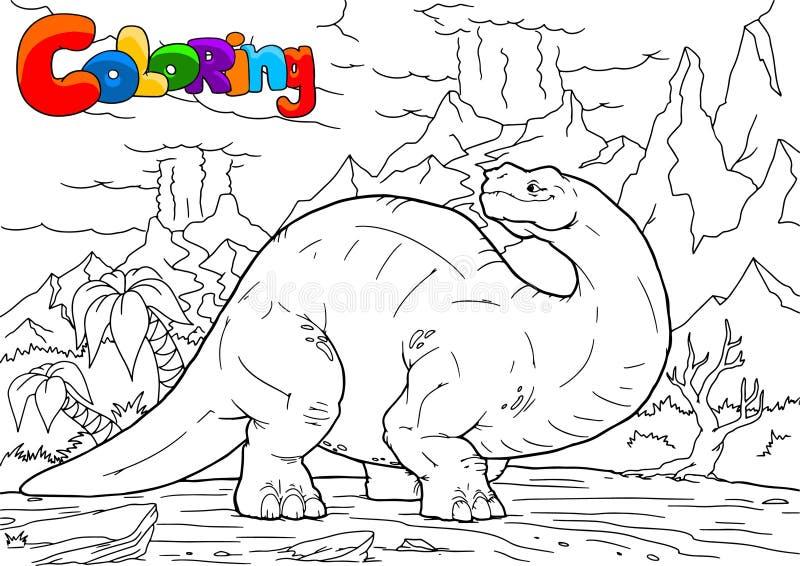 Ilustração do dinossauro do Brontosaurus do esboço, página colorindo, A4 ilustração do vetor