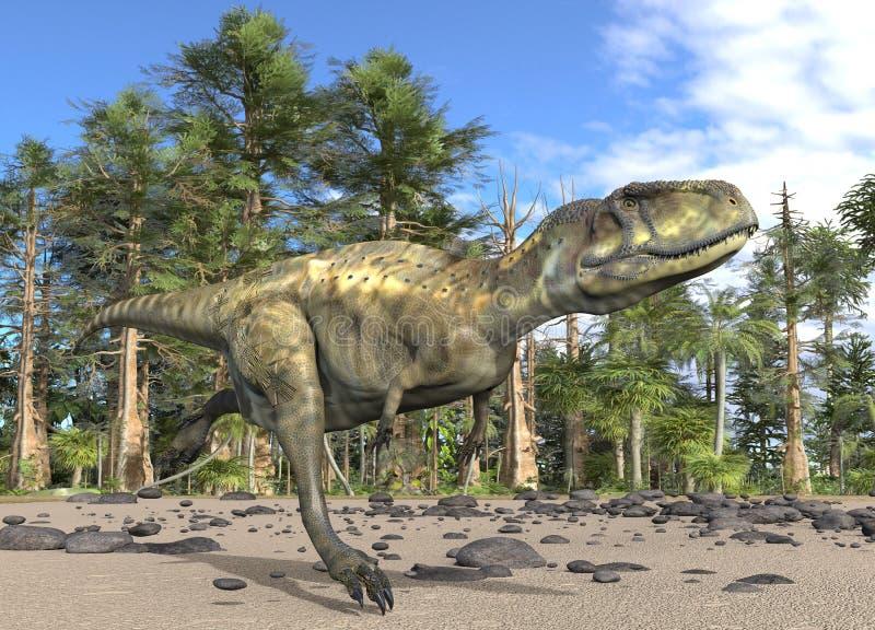 Ilustração do dinossauro 3d na perspectiva da floresta Mesozoic ilustração royalty free