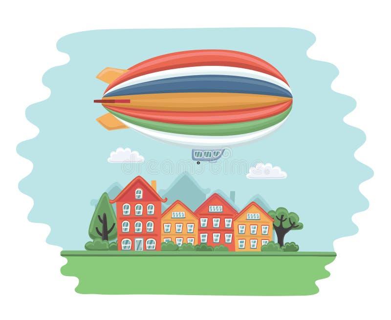 Ilustração do dirigível no céu, voando sobre a cidade ilustração stock