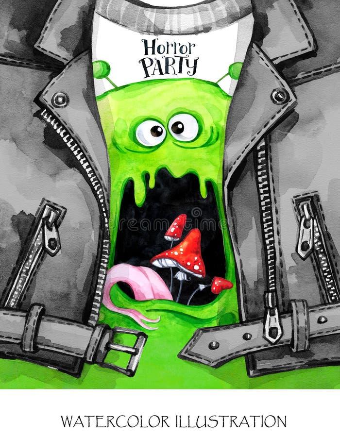 Ilustração do divertimento da aquarela Cartão de Helloween Aniversário Casaco de cabedal pintado à mão com cópia do monstro Menin ilustração royalty free