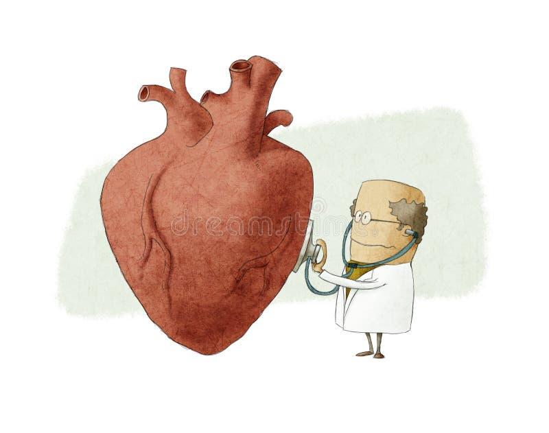 Ilustração do divertimento de um doutor que examina um coração grande ilustração do vetor