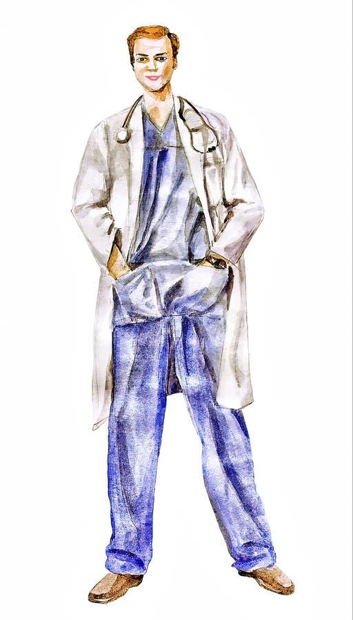 Ilustração do doutor (confiança do médico um homem que)
