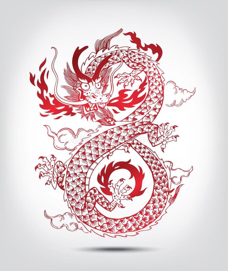 Ilustração do dragão oriental do chinês tradicional ilustração do vetor