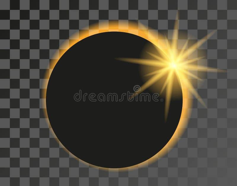 Ilustração do eclipse solar no fundo transparente ilustração royalty free