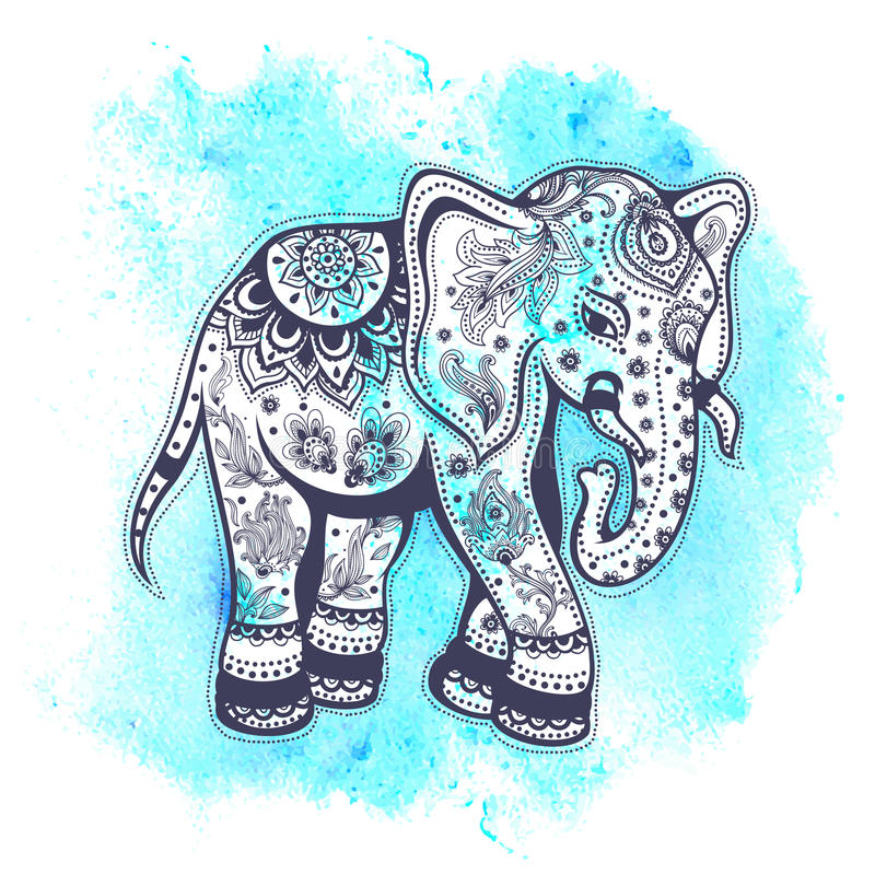 Ilustração do elefante da aquarela do vintage ilustração royalty free