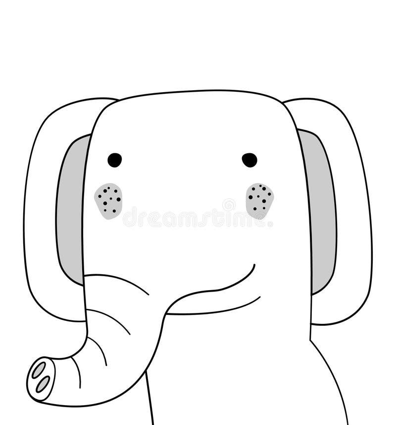 Ilustração do elefante do esboço da garatuja Elefante do vetor dos desenhos animados Animal selvagem do mamífero Fundo branco Car fotos de stock