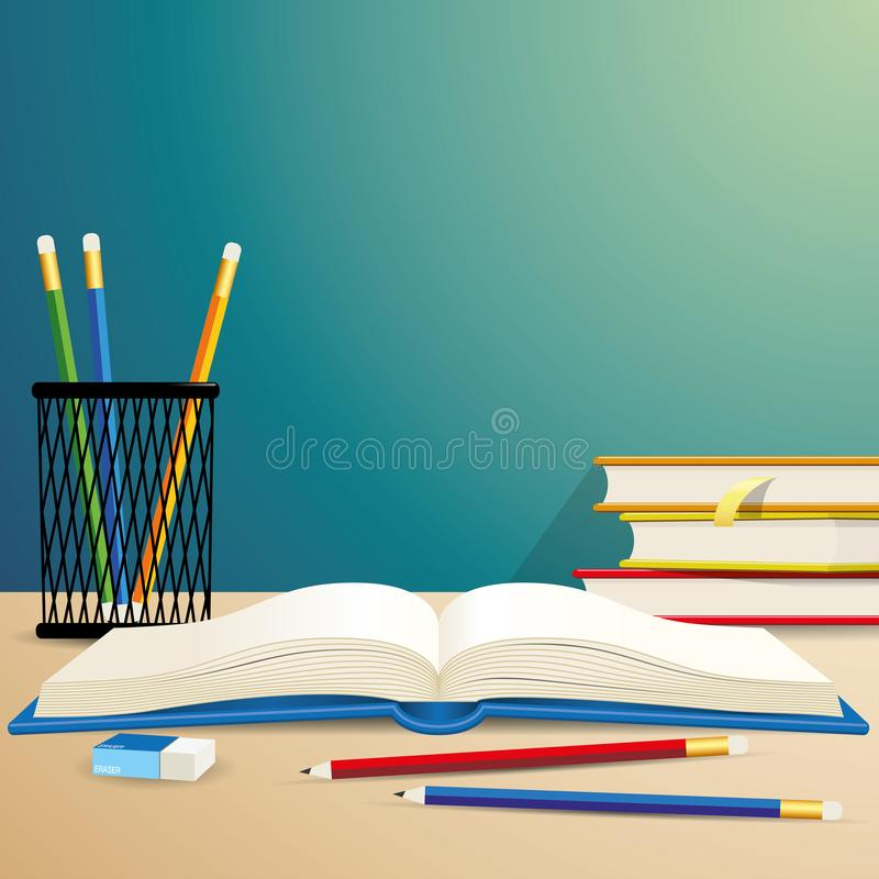 Ilustração do eliminador de lápis do livro da educação imagem de stock royalty free