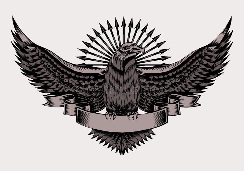 Ilustração do emblema com águia imagens de stock royalty free