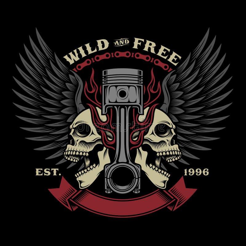 Ilustração do emblema do crânio do motociclista ilustração stock
