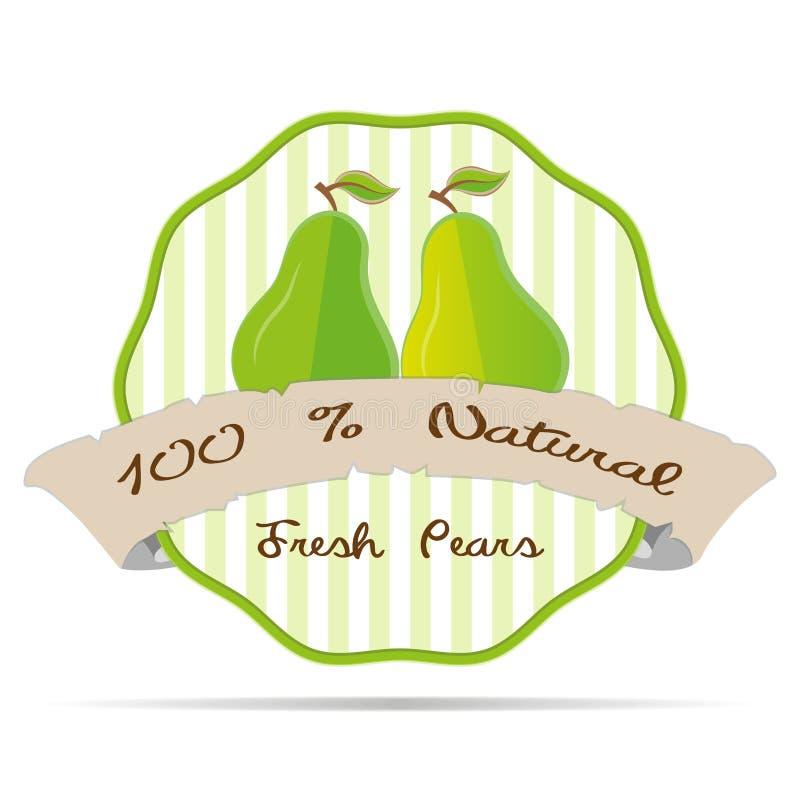 Ilustração do emblema do eco da saúde do vetor do crachá do elemento da etiqueta do negócio do suco do vegetariano da pera do vin ilustração do vetor