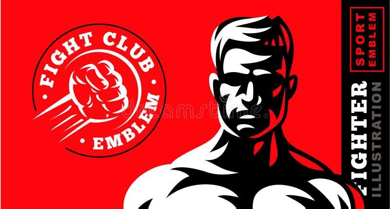 Ilustração do emblema do lutador no fundo vermelho ilustração royalty free