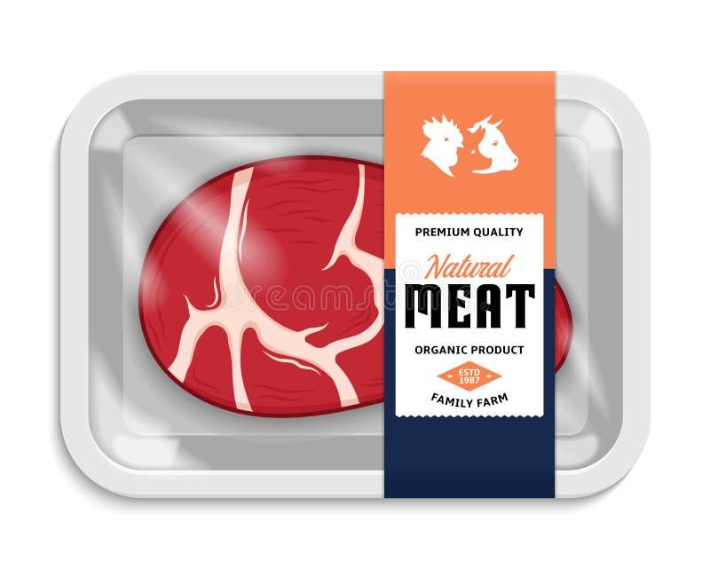 Ilustração do empacotamento de carne do vetor ilustração do vetor