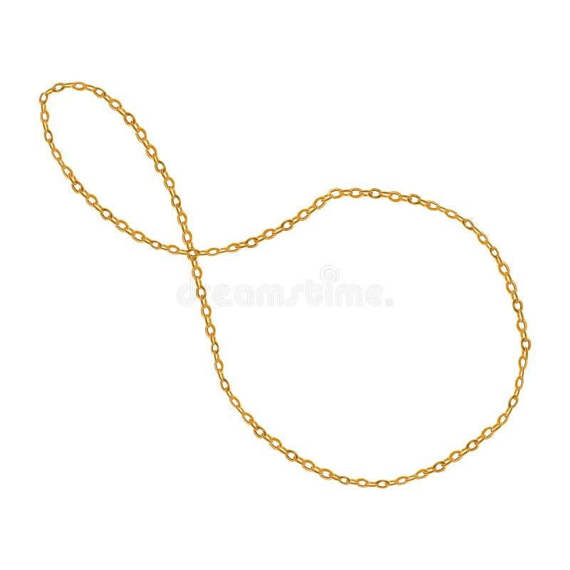 Ilustração do encanto da corrente dourada Acessório de forma tirado mão da aquarela ilustração stock