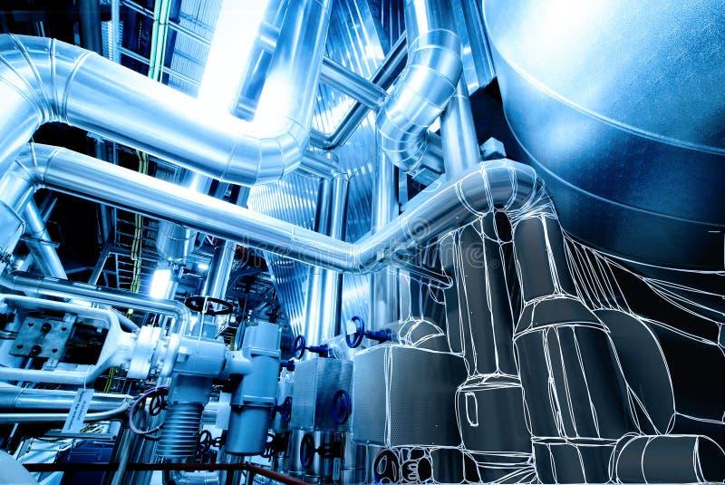 Ilustração do equipamento, dos cabos e do encanamento dentro do central elétrica imagens de stock royalty free