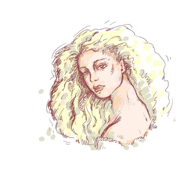 Ilustração do esboço da cor do vetor Retrato da menina bonita nova com cabelo grosso louro longo, os olhos macios e os bordos sen ilustração do vetor