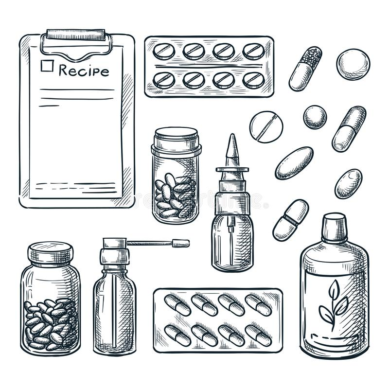 Ilustração do esboço da farmácia, da medicina e dos cuidados médicos Comprimidos, drogas, garrafas, elementos do projeto da presc ilustração royalty free