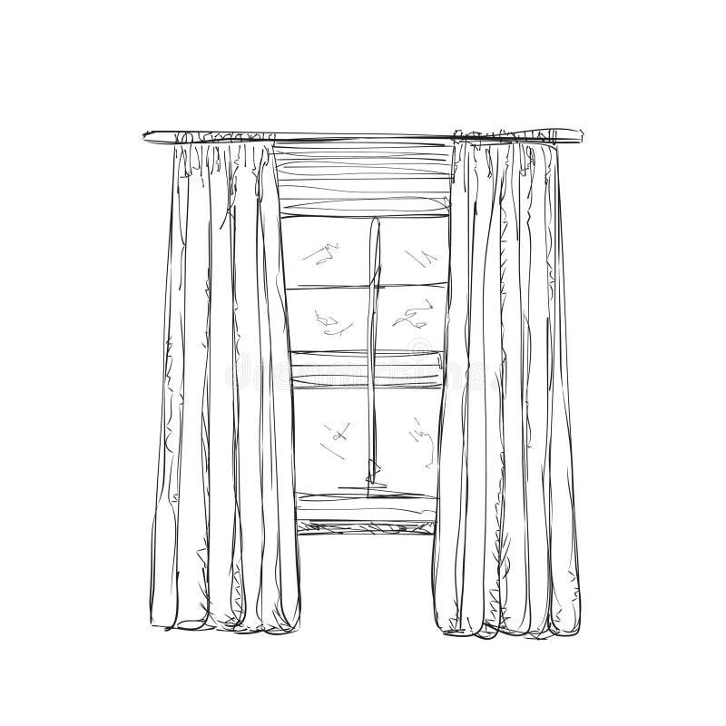 Ilustração do esboço da janela e das cortinas ilustração royalty free