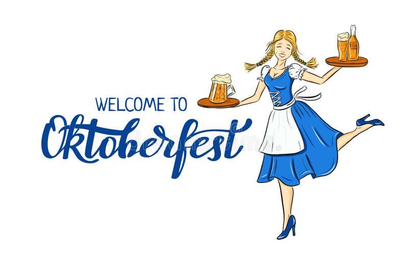 Ilustração do esboço de Oktoberfest da menina de sorriso no traje alemão tradicional com cerveja na bandeja Empregada de mesa báv ilustração stock