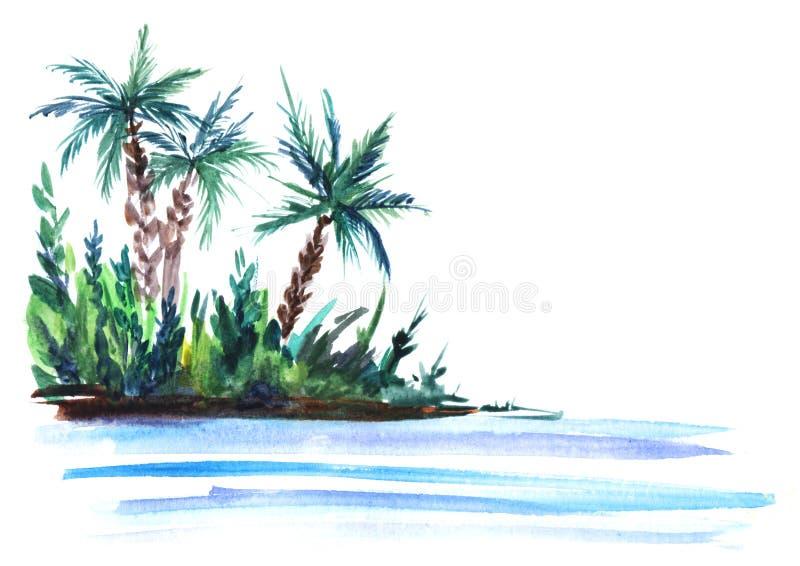 Ilustração do esboço de uma ilha verde com arbustos luxúrias e palmeiras em águas do mar azuis Ilustração desenhado à mão da aqua ilustração royalty free