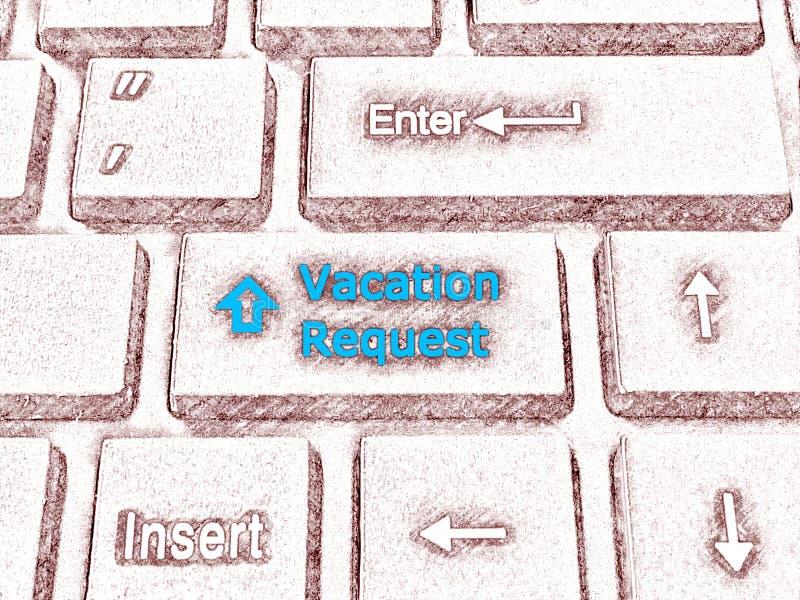Ilustração do esboço do detalhe do teclado com chave do pedido das férias ilustração stock