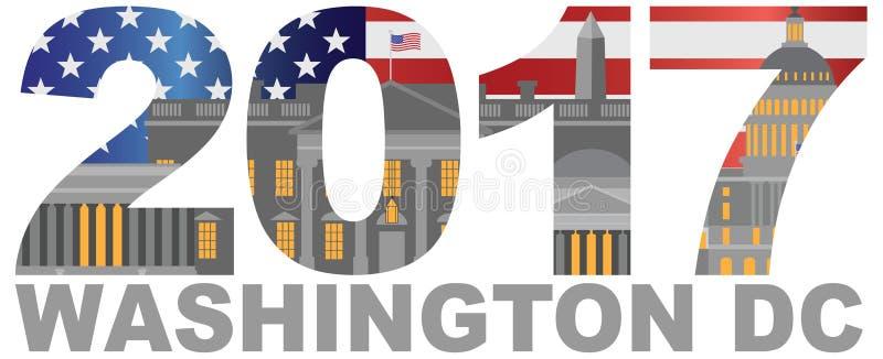 Ilustração 2017 do esboço do Washington DC da bandeira de América ilustração do vetor