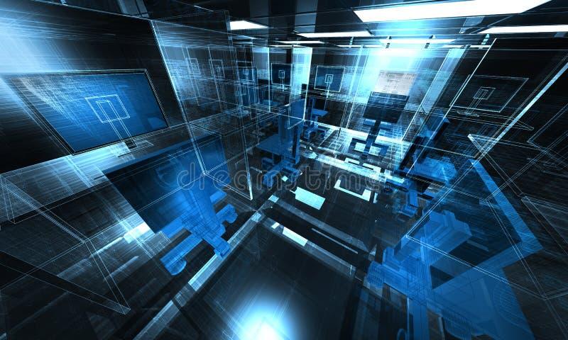 ilustração do escritório da tecnologia 3d ilustração stock
