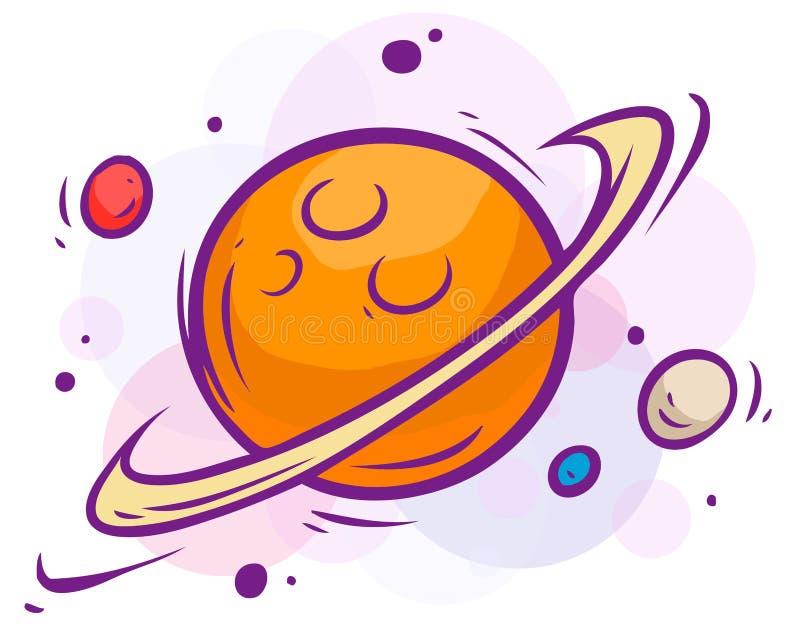 Ilustração do espaço dos desenhos animados com Saturno e planetas ilustração royalty free