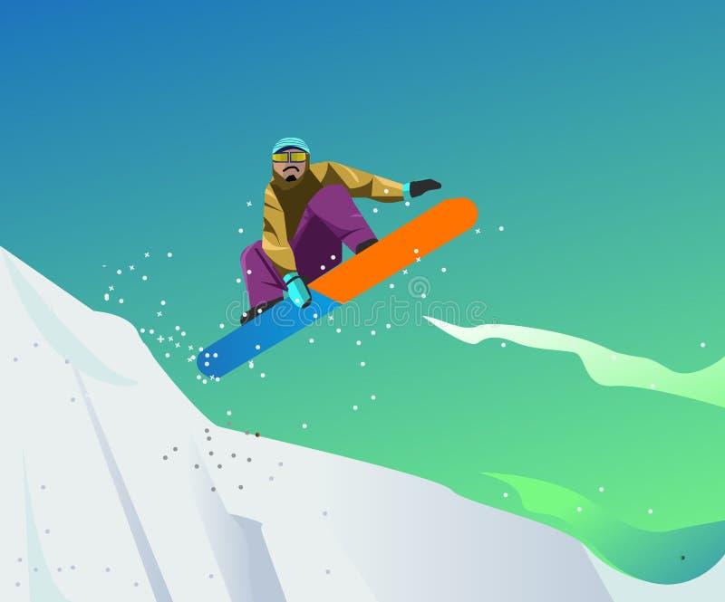 Ilustração do esporte da snowboarding com estilo do vetor ilustração royalty free