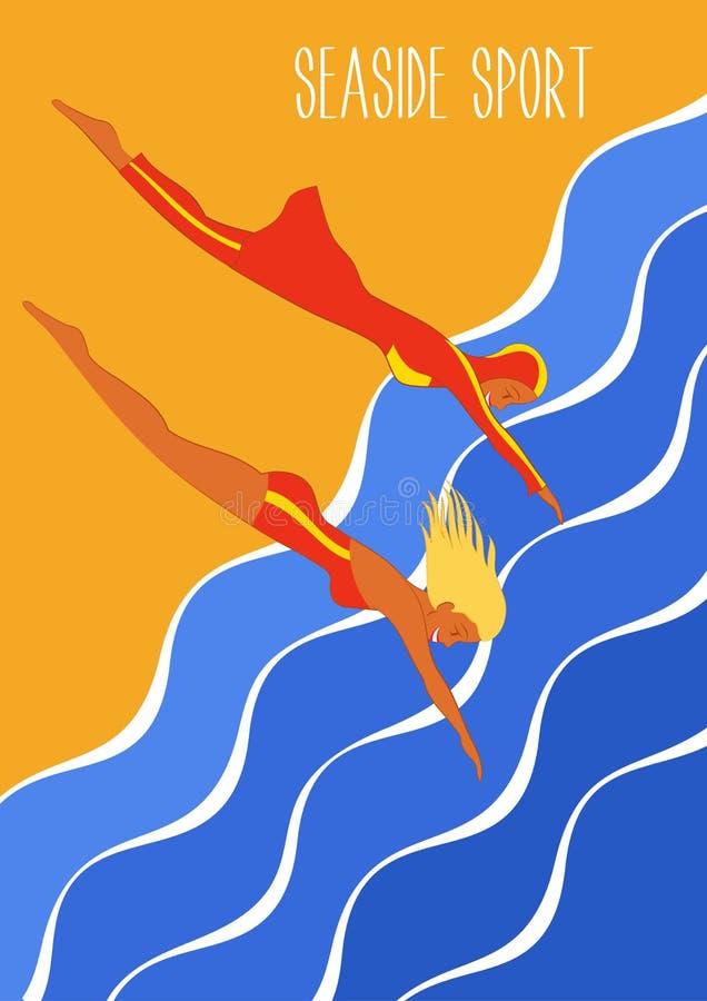 Ilustração do esporte do beira-mar no estilo do art deco Roupa de banho e burkini Ilustração de roupas de banho europeus e muçulm ilustração stock